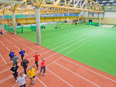 Indoor track made of Regupol® at Paderborn's Ahorn Sportpark, Germany.