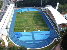 Barrancabermeja, Columbia.Capri blue and sky blue synthetic athletic track Regupol® AG at the Centro de Atletismo Professor Oswaldo Terra, Sao Paulo, Brazil.