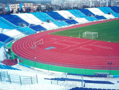 Regupol® synthetic athletic track at the Stadium in Thessaloniki, Greece.
