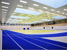 A playing field combined with an athletics area in one sports hall. Barbarossa Hall, Kaiserslautern, Germany.