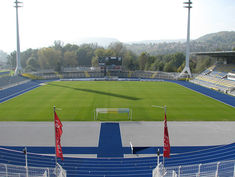 The blue Regupol® athletic track at the Ernst-Abbe-Stadium in Jena, Germany.