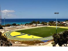 This Regupol® running track at Cave Hill Campus (UWI) is the same colour as the national flag of Barbadoos.
