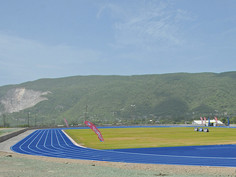The new Regupol® tartan track on the training grounds used by star sprinter Usain Bolt.